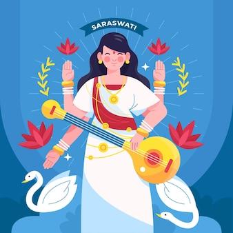 Gedetailleerde platte saraswati-illustratie