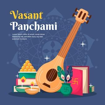 Gedetailleerde platte vasant panchami Gratis Vector