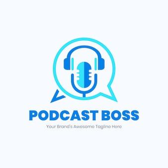 Gedetailleerde podcast logo sjabloon