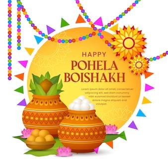 Gedetailleerde pohela boishakh illustratie
