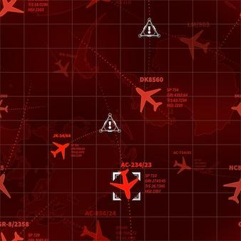 Gedetailleerde rode militaire radar met vliegtuigensporen en naadloos patroon van doeltekens