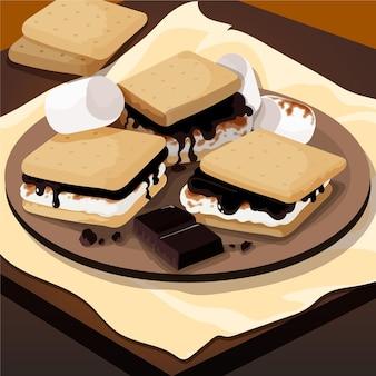 Gedetailleerde s'more dessertillustratie