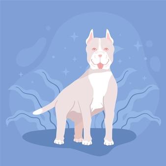 Gedetailleerde schattige pitbull illustratie