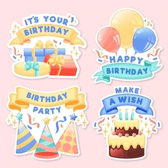 Gedetailleerde set verjaardagsbadges