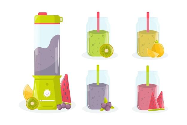 Gedetailleerde smoothies in blenderglas