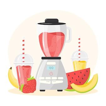 Gedetailleerde smoothies in de illustratie van het blenderglas