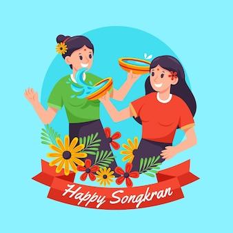 Gedetailleerde songkran-illustratie