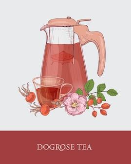 Gedetailleerde tekening van glazen kan met zeef, kopje thee en hondsroos bloemen, bladeren en rode heupen
