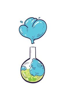 Gedetailleerde tekening van rondbodemkolf met vloeibaar reagens dat op wit wordt geïsoleerd