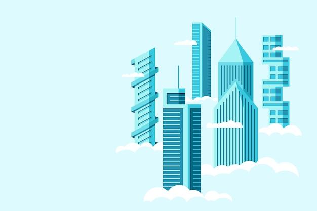 Gedetailleerde toekomstige stad met verschillende architectuur hoge gebouwen wolkenkrabbers appartementen boven wolken. futuristische grafische stadsgezicht stad. vector onroerend goed constructie over hemel illustratie
