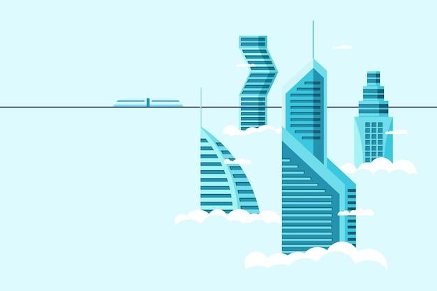 Gedetailleerde toekomstige stad met verschillende architectuur hoge gebouwen wolkenkrabbers appartementen boven wolken. futuristische stadsgezicht stad en monorail trein. vector onroerend goed constructie over hemel illustratie