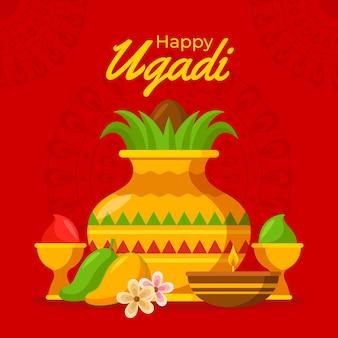 Gedetailleerde ugadi garland illustratie