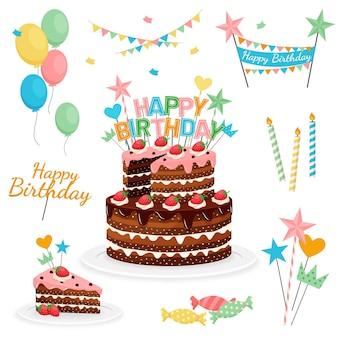 Gedetailleerde verjaardagstaart met topper