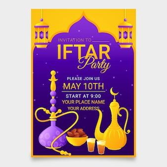 Gedetailleerde verticale iftar-uitnodigingssjabloon
