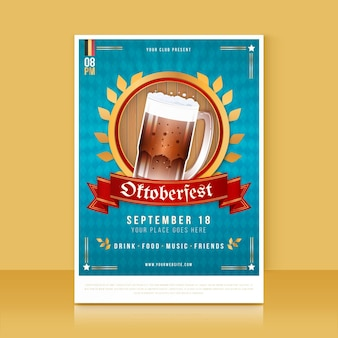 Gedetailleerde verticale postersjabloon voor oktoberfest