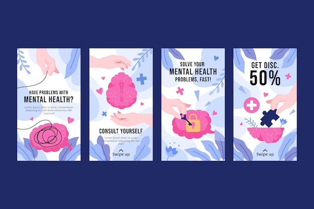 Gedetailleerde verzameling instagramverhalen over geestelijke gezondheid