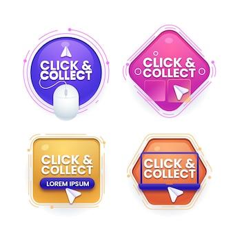 Gedetailleerde verzameling van click & collect-tekens