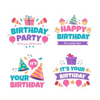 Gedetailleerde verzameling verjaardagsbadges