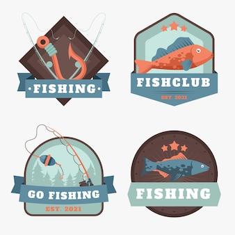 Gedetailleerde vintage visserijbadge-collectie