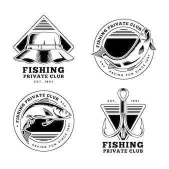 Gedetailleerde vintage visserijbadgecollectie