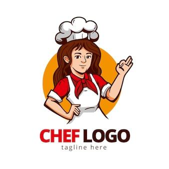 Gedetailleerde vrouwelijke chef-kok logo sjabloon