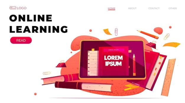 Gedetailleerde websjabloon voor online leren