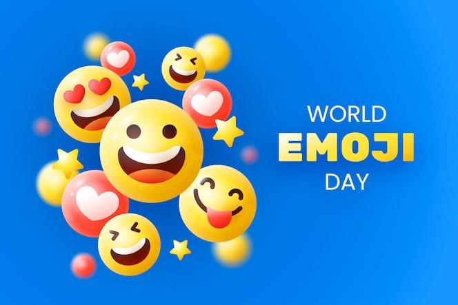 Gedetailleerde wereld emoji dag illustratie