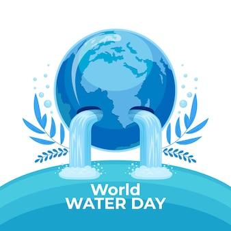 Gedetailleerde wereld water dag illustratie met planeet
