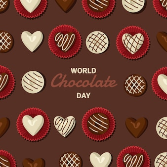 Gedetailleerde wereldchocolade dag illustratie
