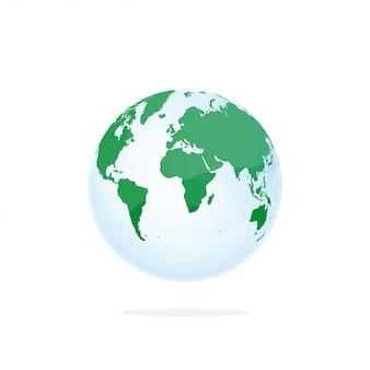 Gedetailleerde wereldkaart in bolvorm in transparante cirkel, geïsoleerd op een witte achtergrond.