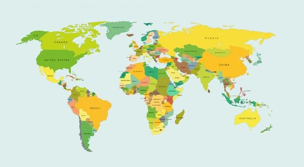 Gedetailleerde wereldkaart met landen.