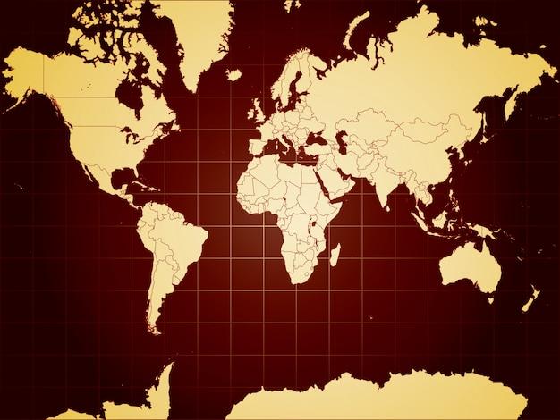 Gedetailleerde wereldkaart volledig bewerkbare illustratie