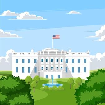 Gedetailleerde witte huisillustratie