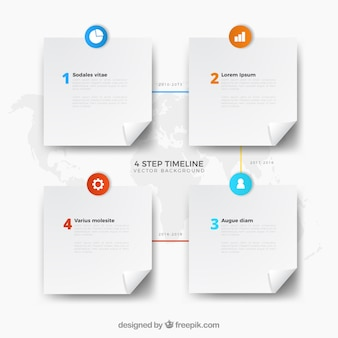 Gedetailleerde zakelijke tijdlijn met plat ontwerp