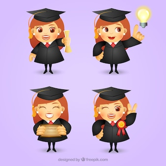 Gediplomeerd meisje karakter