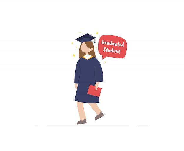Gediplomeerde student met diplomaillustratie