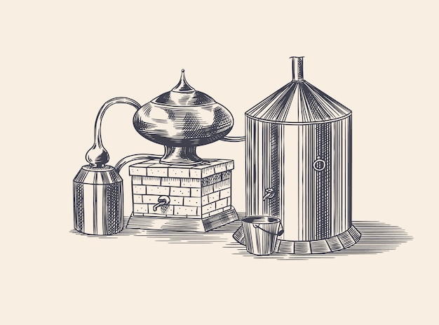 Gedistilleerde alcohol. apparaat voor het bereiden van tequila, cognac en sterke drank. gegraveerde hand getekende vintage schets. houtsnede stijl. illustratie voor menu of poster.