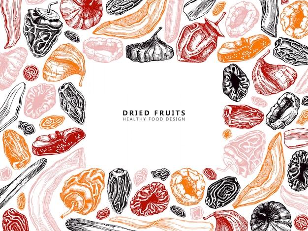 Gedroogd fruit en bessen frame. vintage gedehydrateerde vruchten in kleurensjabloon. gezond voedseldessert - gedroogde mango, meloen, vijg, abrikoos, banaan, persimmon, dadels, pruimen, rozijnen. oosterse snoepjes.