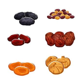 Gedroogd fruit rozijnen dadels en sappige exotische vijgen abrikozen pruimen en zwarte pruimen