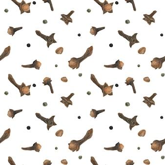 Gedroogd kruidnagel naadloos patroon