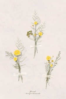 Gedroogde bloem plakboek herfst element vector