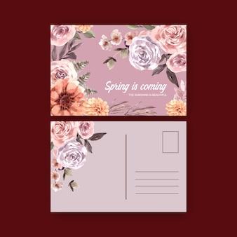 Gedroogde bloemen briefkaart aquarel illustratie.