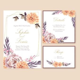Gedroogde bloemen bruiloft kaart sjabloon aquarel illustratie