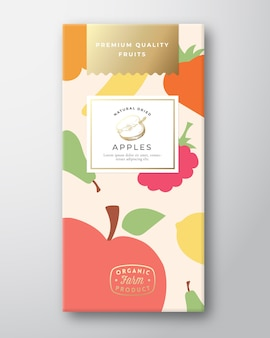 Gedroogde vruchten label verpakking ontwerp lay-out.