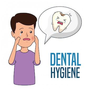 Geduldige jongen met kiespijn en cariës in de tand
