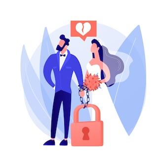 Gedwongen huwelijk abstract begrip vectorillustratie. onvrijwillig kindhuwelijk, zonder toestemming, tegen wil, huiselijk geweld, handboeien om, druk om te trouwen, seksueel misbruik abstracte metafoor.