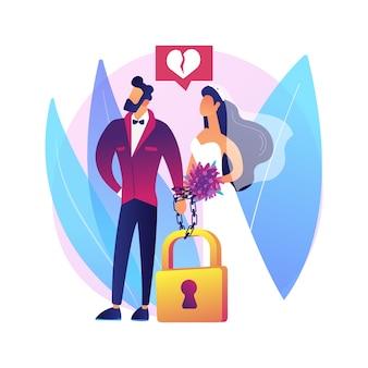 Gedwongen huwelijk abstract concept illustratie. onvrijwillig kindhuwelijk, zonder toestemming, tegen wil, huiselijk geweld, handboeien om, druk om te trouwen, seksueel misbruik.