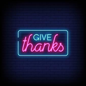 Geef bedankt neontekens stijltekst