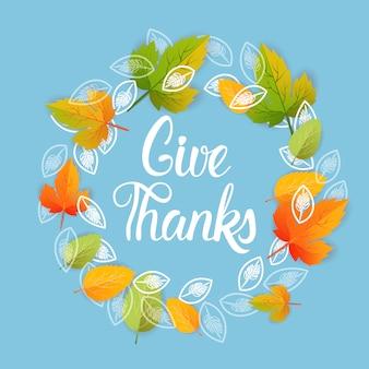 Geef dank, happy thanksgiving day herfst traditionele vakantie wenskaart