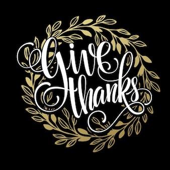 Geef een bedankkaart met gouden krans